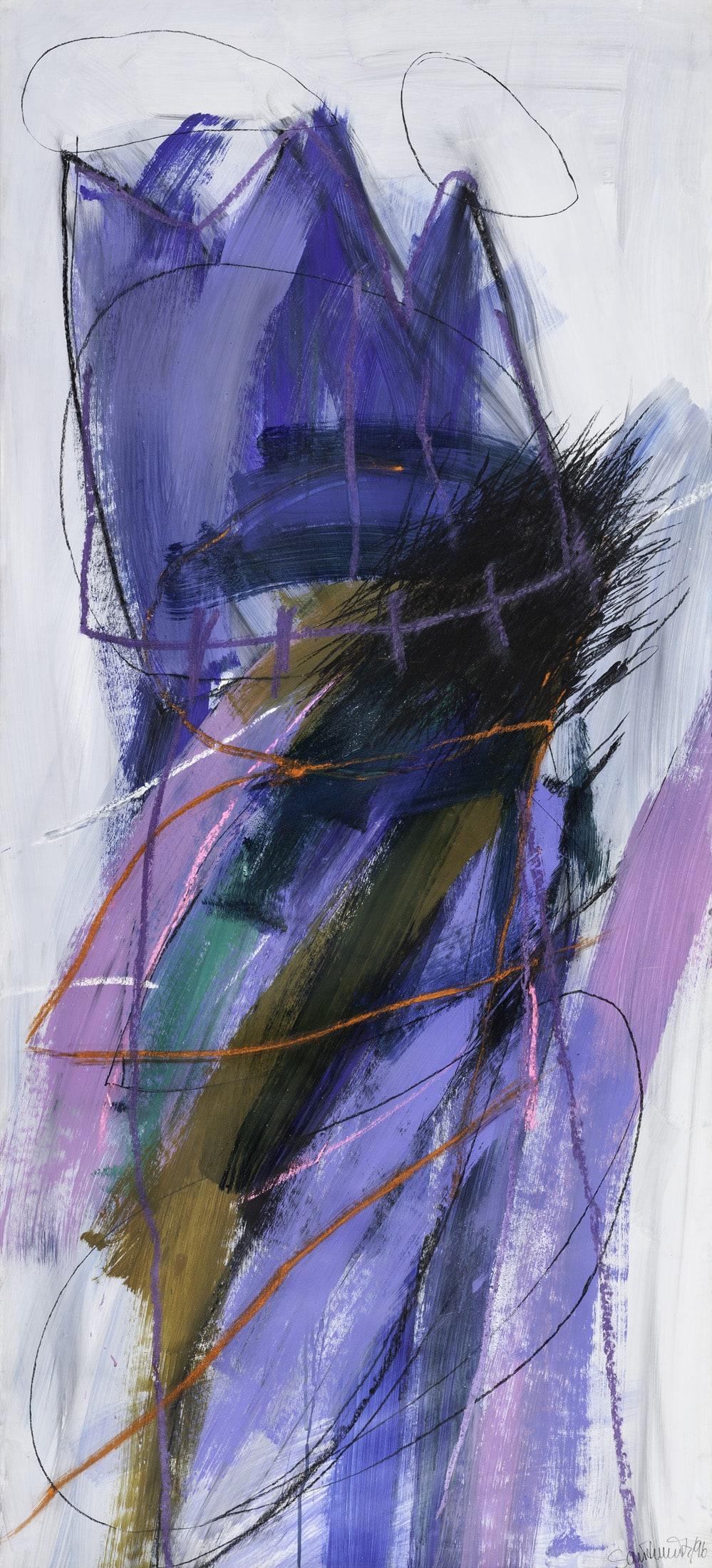 Renate Sautermeister, Fetisch heiter, 1996, Acryl und Kreide auf Karton, 165 x 75 cm