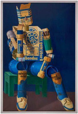 Karl Heidelbach, Denker, 1985, Öl/LW, 220 x 150 cm