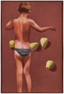 Junge mit Birnen, ca. 1981, Öl/ LW, 75 x 50 cm